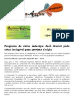 Programa de rádio antecipa Jacó Maciel pode estar inelegível para próxima eleição