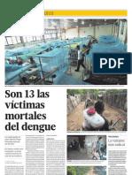 NOTICIA - SON 13 LAS VÍCTIMAS MORTALES DEL DENGUE +  INTENSIFICAN CAMPAÑA CONTRA LARVAS DEL MOSQUITO EN LIMA + PREVENCIÓN EN OTROS DISTRITOS CONTINÚA
