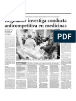 NOTICIA - REGULADOR INVESTIGA CONDUCTA ANTICOMPETITIVA EN MEDICINAS