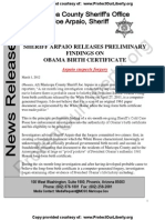 AZ Sheriff Joe Arpaio Cold Case Posse Report - Obama Docs Forged - Probable Cause Crimes Committed