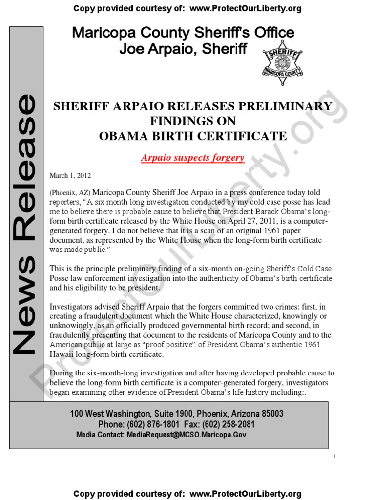 Az sheriff joe arpaio cold case posse report obama docs forged az sheriff joe arpaio cold case posse report obama docs forged probable cause crimes committed joe arpaio barack obama citizenship conspiracy 1betcityfo Images