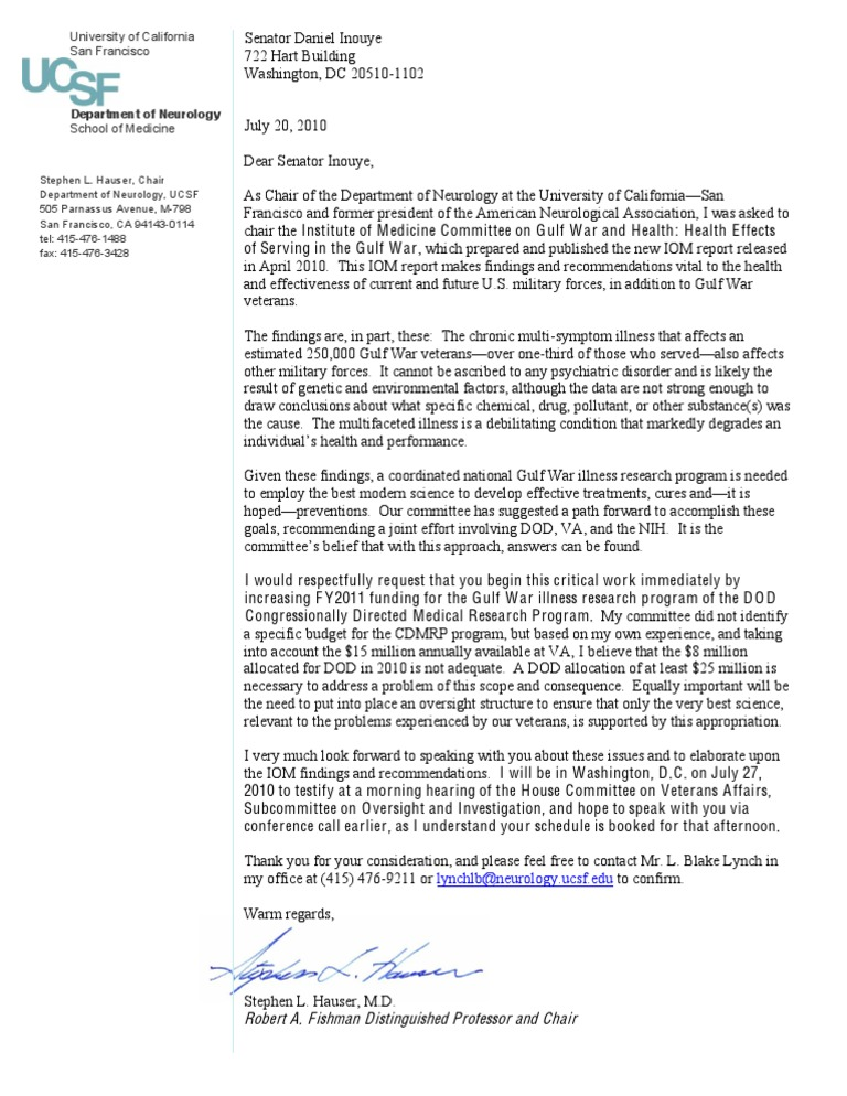 Hauser (IOM) GWI CDMRP Letter to Senate Approp  Cmte  Chair Senator