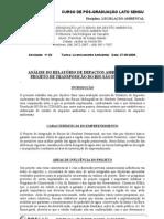 ANÁLISE DO RELATÓRIO DE IMPACTOS AMBIENTAIS DO PROJETO DE TRANASPOSIÇÃO DO RIO SÃO FRANCISCO
