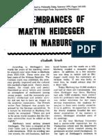 Elisabeth Hirsch - Remembrances of Martin Heidegger in Marburg