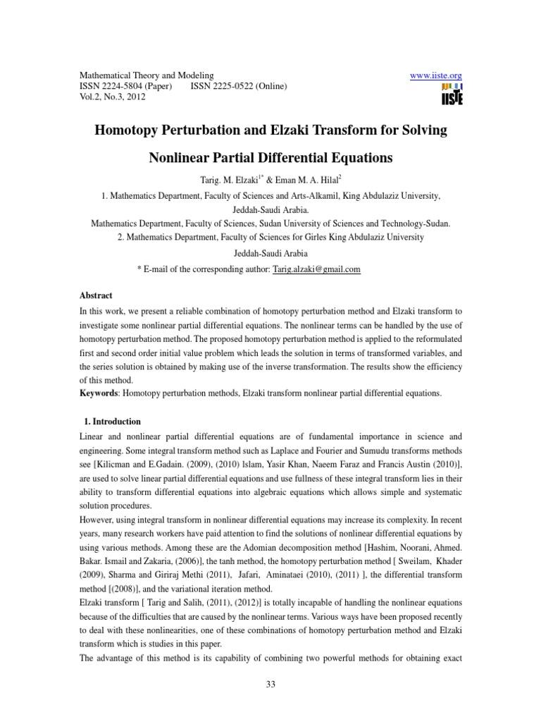 Homotopy Perturbation And Elzaki Transform For Solving