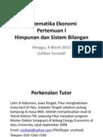 Matematika Ekonomi Pertemuan I