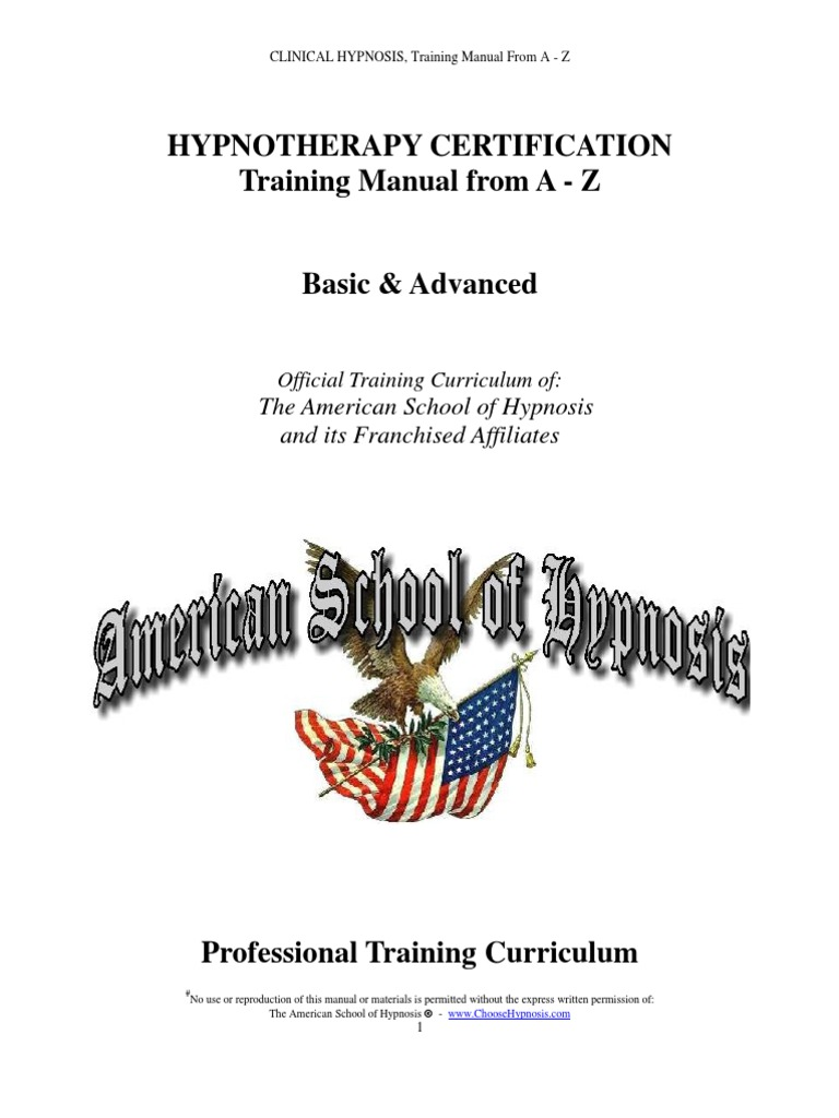 clinical hypnosis training manual from a z hypnosis mind