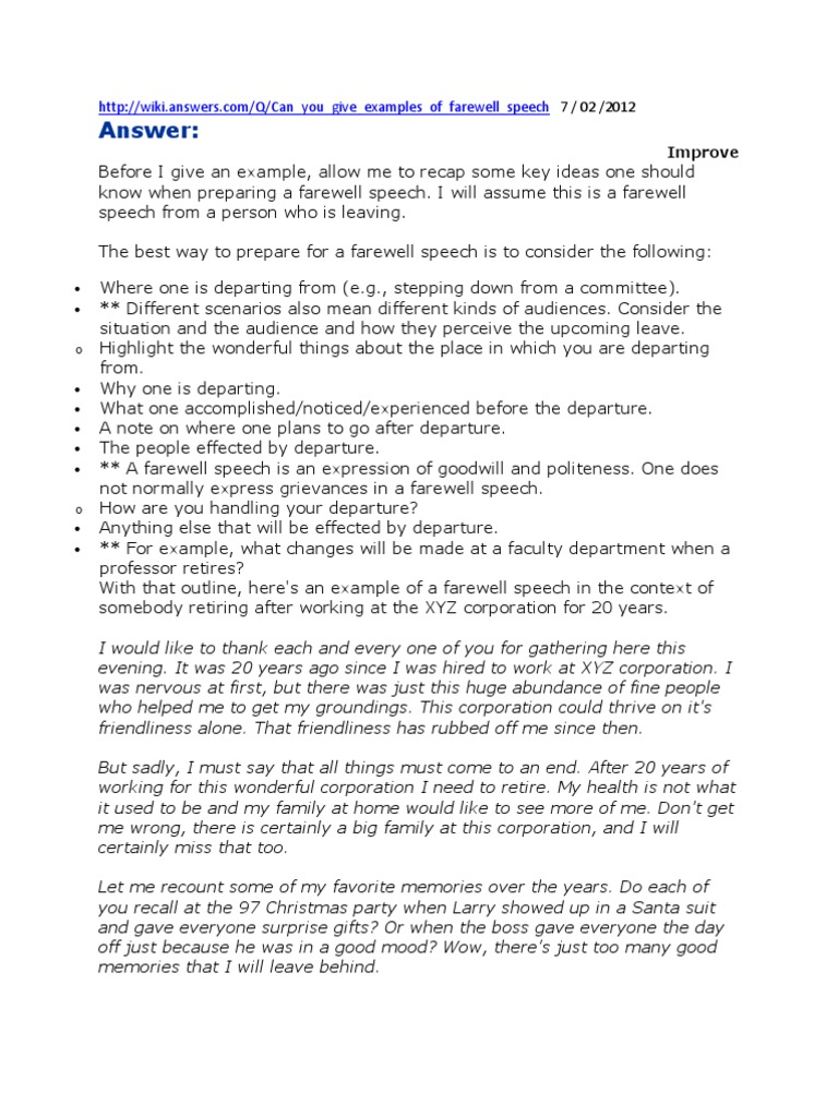 Farewell Speech Examples Emergency Management – Salutatorian Speech Examples