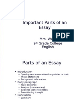 Parts of an Essay Updated