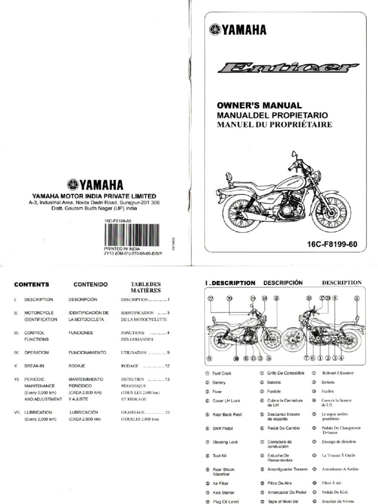 manual de usuario yamaha enticer yba 125 rh es scribd com Yamaha Service Dealers Yamaha Outboard Service Manuals