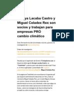 Soraya Lacaba Castro y Miguel Celadex Rex son socios y trabajan para empresas PRO cambio climático _ defensatum