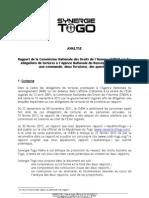 Synergie Togo analyse les deux Rapports de la CNDH
