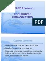 BIOL0012 Lecture 1. Ecological Organization