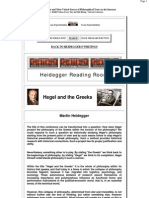 Heidegger Hegel and the Greeks