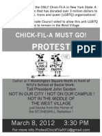 NYU Chick-fil-A Protest Flier