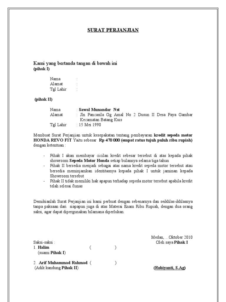 Contoh Surat Jual Beli Motor Informasi Seputar Dunia