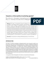 Towards a Critical Political Marketing Agenda