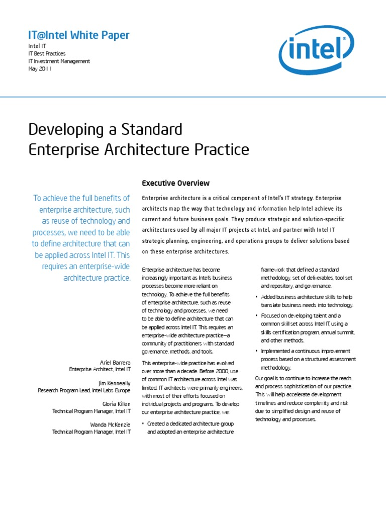 Intel It It Leadership Developing A Standard Enterprise Architecture  Practice Paper | Enterprise Architecture | Business Process