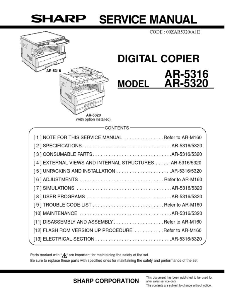 sharp ar 5316 service manual image scanner booting rh scribd com Sharp AR M237 Toner sharp ar 5623n service manual