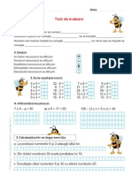 Test de evaluare, matematică, clasa a III-a