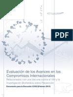 Evaluación de los Avances en los Compromisos Internacionales Relacionados con una Vacuna contra el VIH y la Investigación Biomédica sobre Prevención