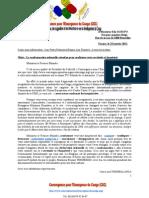 Lettre de du Président du Collectif « Convergence pour l'Emergence du Congo » a M. Elio Di Rupo