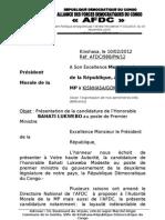 Présentation de la candidature de l'Honorable BAHATI LUKWEBO au poste de Premier Ministre