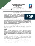 Note d'information par la Synergie des femmes pour les victimes des violences sexuelles 2012