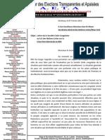 Lettre de la Société Civile Congolaise au S.G des Nations Unies sur la  Crise Post-Electorale en RDC  Fevrier 2012