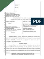 20101227 Defendants' Answer to Plaintiff's Unverified Complaint for Damages 12.27.10