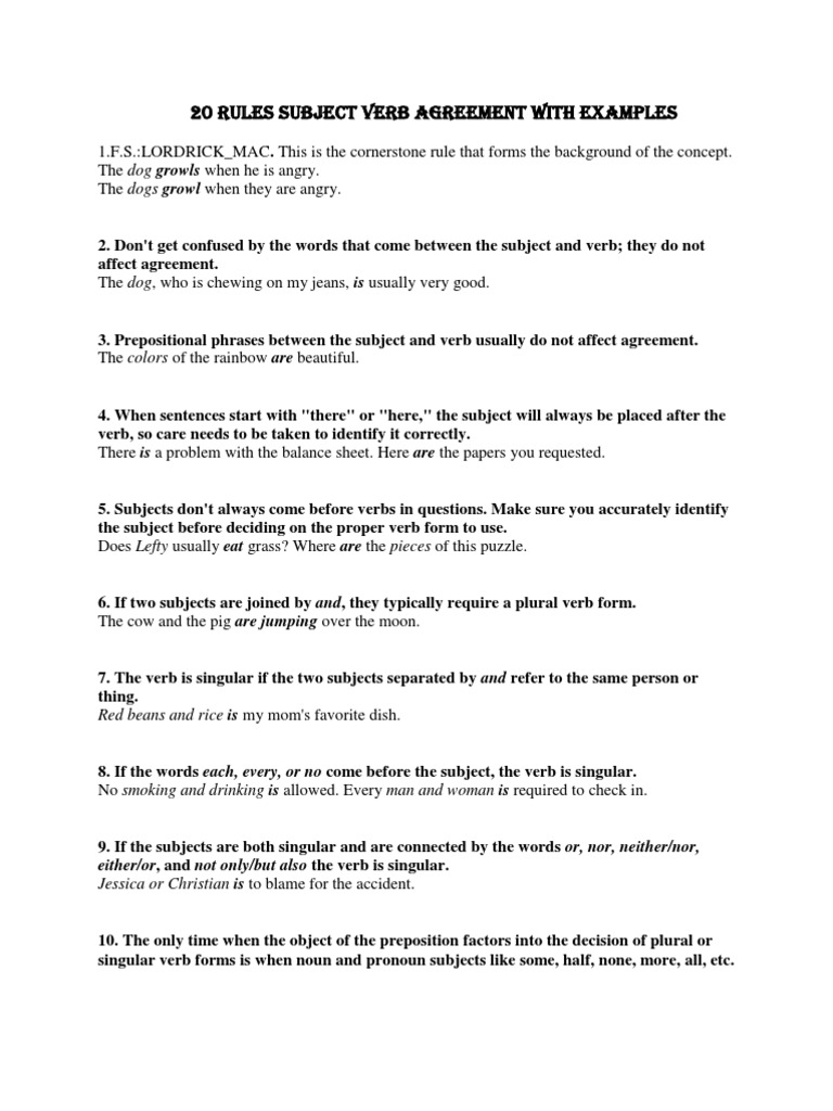 20 rules subject verb agreement with examples grammatical number 20 rules subject verb agreement with examples grammatical number pronoun platinumwayz