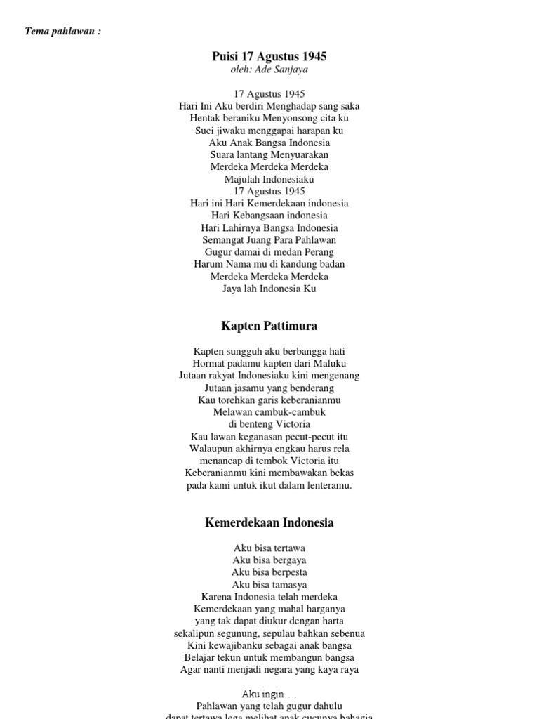 Puisi Tentang Kemerdekaan Indonesia Raya Brad Erva Doce Info