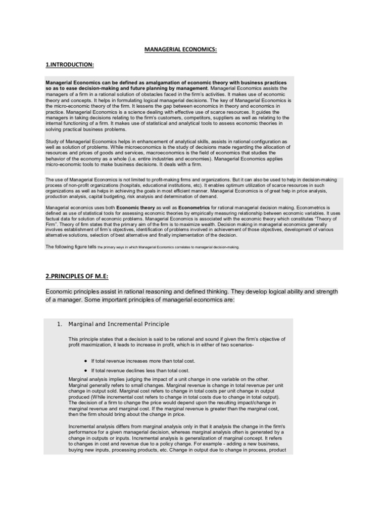incremental principle in managerial economics