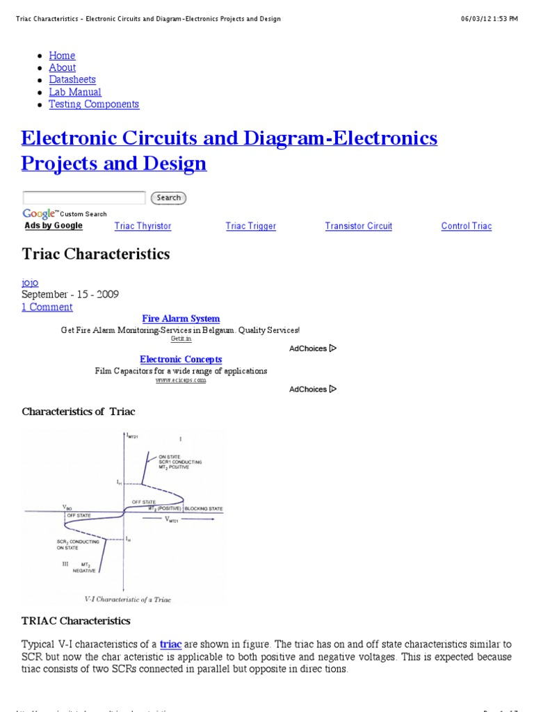 Triac Characteristics Electronic Circuits And Diagram Electronics Mosfet Amplifier Diagramelectronics Projects Design