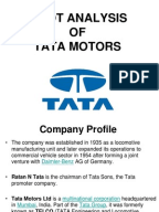 tata motors swot analysis Analysis of tata motors will help to understand and respond to your competitors' business structure and strategies with global data's detailed swot analysis it analyses the company's core strengths, weaknesses, opportunities and threats.