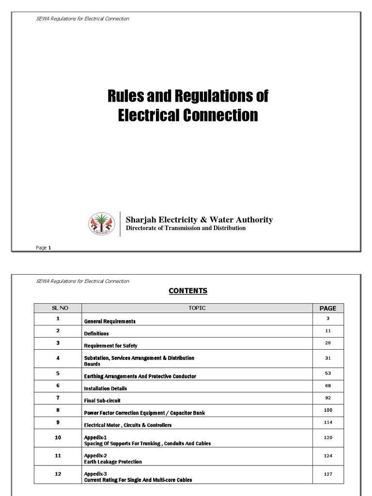 Sharjah Regulations | Electrical Wiring | Fuse (Electrical)