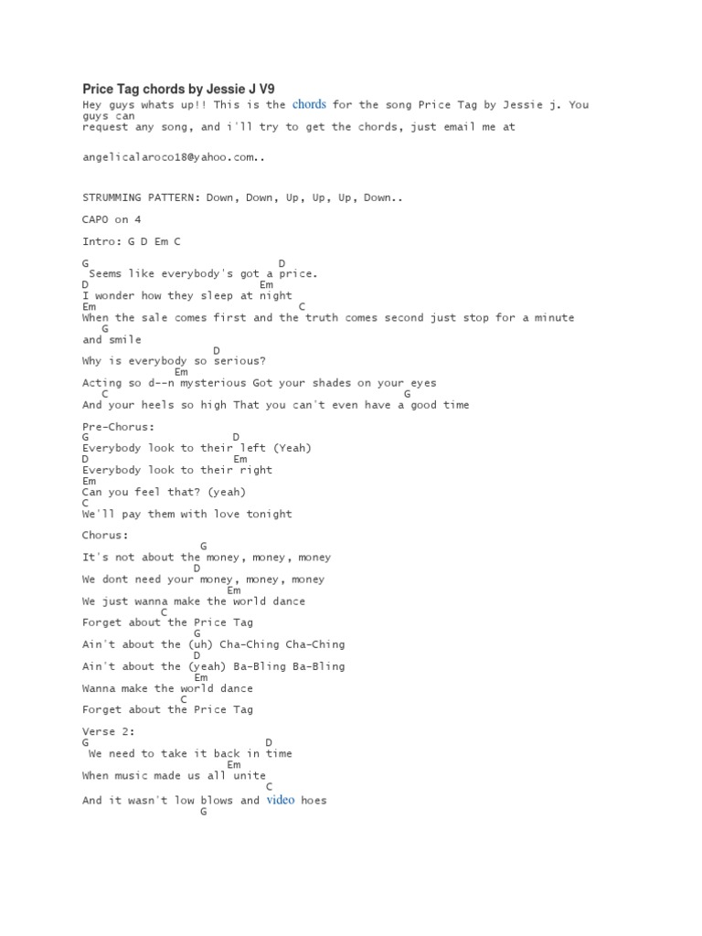 Price Tag Chords by Jessie J V15   PDF   Song Structure   Musical ...