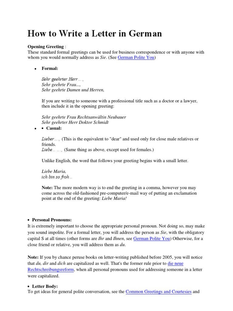 How To Write A Letter In German Linguistic Morphology Syntax