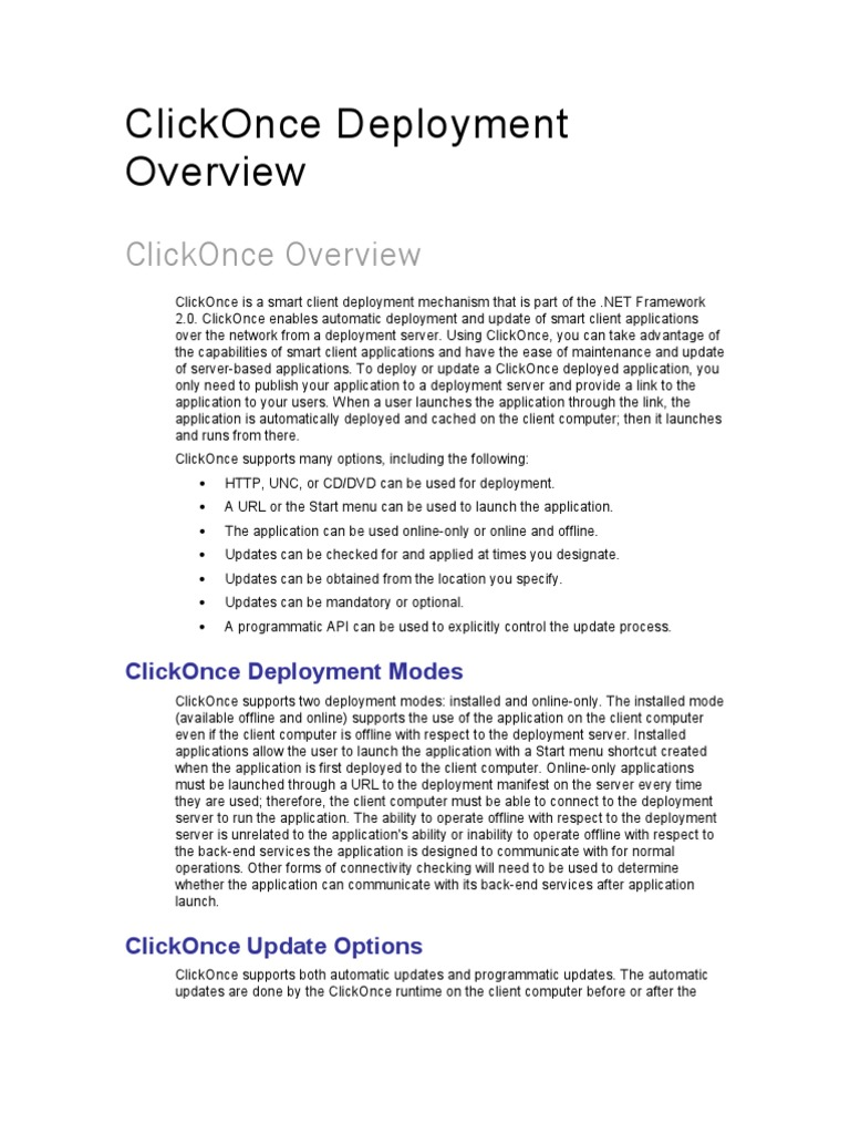 ClickOnce Deployment Documentation | Web Server | Microsoft