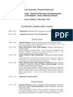 "Association ""KORYVANTES"" Lecture in the Warsaw University, International Academic Conference Schedule """"Archaeological Heritage-Methods of Education and Popularization"", December 1-3 2011,"