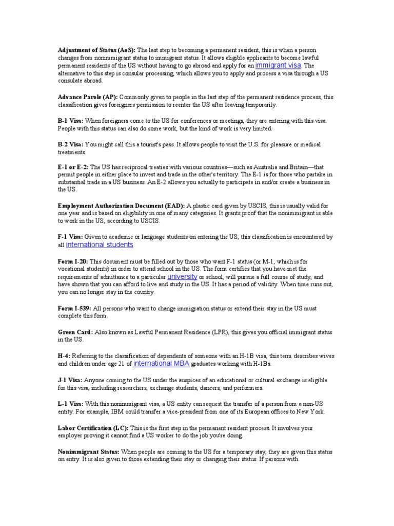 Visa Types | Permanent Residence (United States) | Travel Visa