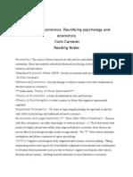 Behavioral Economics- Reunifying Psychology and Economics-Colin Camerer-Reading Notes