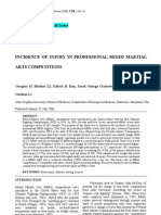 Indicence of Injury in Professional Mixed Martial Arts Competitons