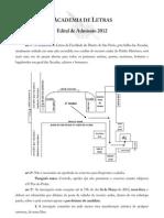 Edital de Admissão 2012