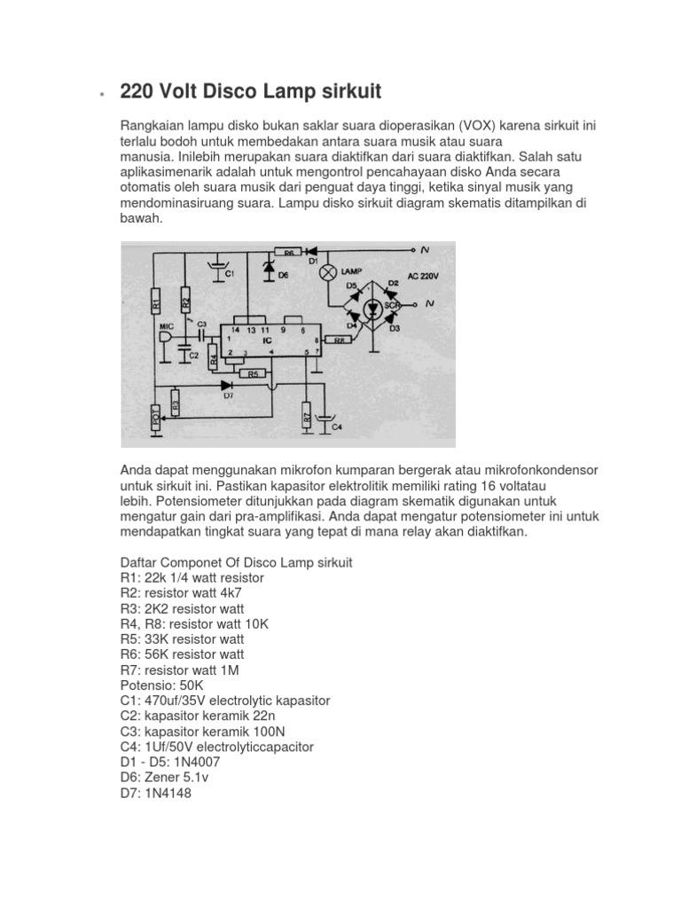 220 Volt Disco Lamp Circuit