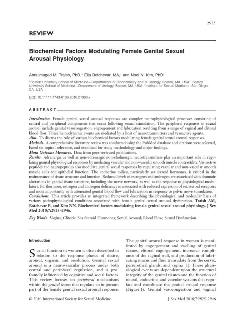 Biochemical Factors Modulating Female Genital Ual Arousal