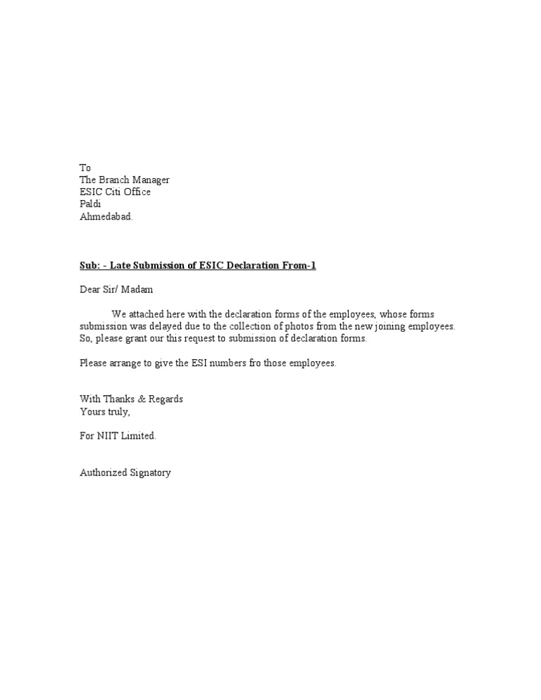Late submission letter for Covering letter for submission of documents