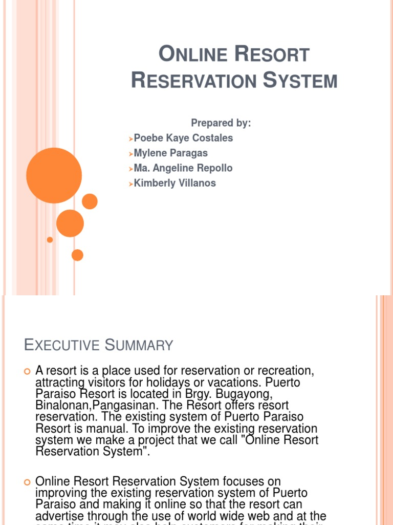 resort reservation system thesis