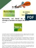 Aprovada, Lei Geral Da Copa Libera Cerveja e Feriado Em Jogos Do Brasil
