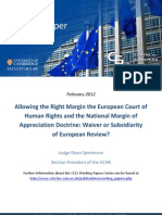 Allowing the Right Margin the European Court of Human Rights and the National Margin of Appreciation Doctrine